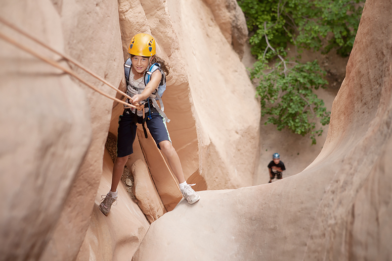 Family canyoneering trip to Yankee Doodle Canyon.